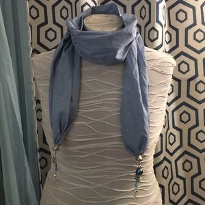 Accessories - Soft blue scarf with butterfly pendents